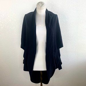 Dylan Black Round Cocoon Lace Back Open Cardigan